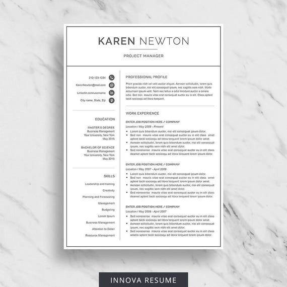 Modern Resume Template For Word | Minimalist Resume Design | 2 Page Resume  Download | Simple Resume Template | CV Template For Word  Minimalist Resume Template
