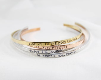 Inspirational Bracelet | Personalized Cuff Bracelet | Stacking Dainty Cuff | Bridesmaid Gift | Gift for her | Cuff Bracelet | Inspirational
