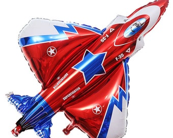 "Jumbo 32"" F-35 Fighter Plane Balloon, Air Force Military Decor, Kids Birthday Party"