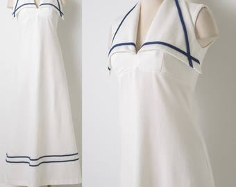 Vintage maxi dress, 60s maxi dress, Vintage white dress, White maxi dress, Vintage nautical dress, 60s evening dress, Sleeveless Dress - S/M