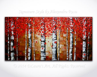 ORIGINAL Abstract Red Birch Trees Painting Impasto Aspen Landscape Oil Painting Heavy Textured Modern Palette Knife Art by Alex Rusu 40x20