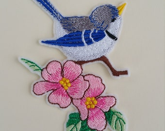Bird iron on or sew on patch Flowers bird patch Iron on bird patch Sew on bird patch Bird applique Patch bird iron on Applique bird iron on