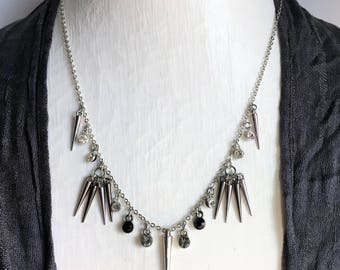 Classy Spiked Necklace; spike jewelry, spike necklace, spikes, steampunk jewelry, industrial jewelry, spiked necklace, spiked jewelry
