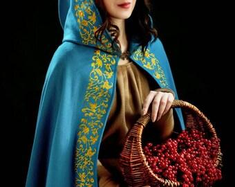 Medieval cloak Fantasy cosplay Princess costume  Queen and Carnival costume Medieval blue cloak Renaissance costume Wool cape Hooded cloak.