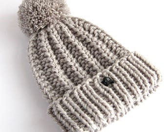 SPARKLY Silver Grey Bobble Hat - Glittery HoBo Handmade thick chunky hand knitted womens beanie. Large detachable pom pom. 9 Glitter Colours