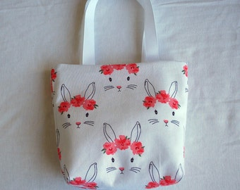 Easter Fabric Gift Bag/ Small Tote/ Easter Goody Bag- Bunnies on White