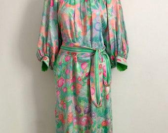 LEONARD!!! Vintage 1980s 'Leonard' floral print, pastel, silk dress with batwing sleeves and matching belt