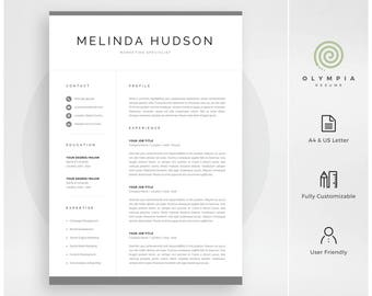 Professional Resume Template | Modern CV Template for Word | Instant Download | 1 and 2 Page Resume | Cover Letter | Mac & PC | Melinda