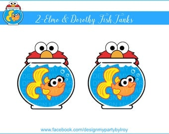 2 -ELMO & DOROTHY Fish Tanks Digital file,Dorothy Fish Tank Instant Download,Elmo Party Printable,Elmo Party Decor,Sesame Street Party,Elmo.