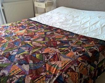 "handmade African quilt, blanket, throw Patchwork wax fabric 49,2""/ 82,7"" inch"