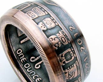 Mayan Calendar Handcrafted 1oz .999 Pure Copper Coin Ring, Unique Ring, Coin Jewelry, Mens, Band, Rings
