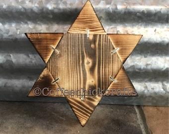 Rustic Burnt Wood Star of David Wall Decor  Farmhouse Style Star of David Primative  Home Decor