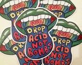 Drop acid not bombs - Sticker Grün