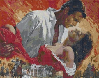 Gone with the wind Cross Stitch Pattern point de croix needlepoint needlework- 230 x 363 stitches - Instant Download - B150