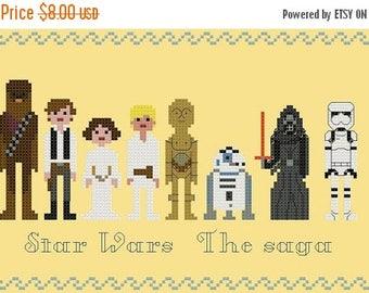 Star wars 8 characters pixel people Cross Stitch Pattern Pdf punto de cruz - 114 x 57 stitches - - INSTANT Download - B1119