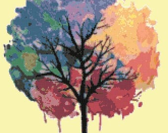 Watercolor tree of life cross stitch tree of life pattern embroidery needlepoint needlecraft - 155 x 201 stitches - INSTANT Download - B149