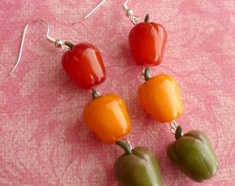 Bell Pepper Earrings Miniature Food Jewelry Food Earrings Food Art Polymer Clay Bell Pepper