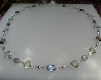 Gemstone necklace, 925 Silver, Labradorite, Amethyst, Blue Topaz, smoky quartz