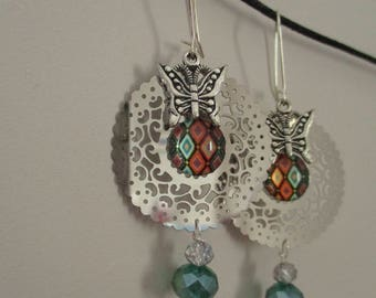 """Earrings """"Girly"""" Green""""Crystal and cabochon"""