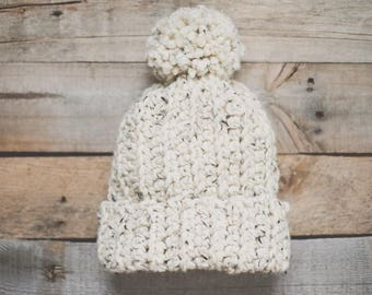 Oatmeal Hat Pom Pom | Slouch Beanie | Crocheted Hat | Chunky Hat | Wool Blend | Adult | Handmade | Soft
