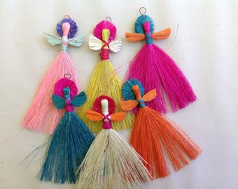 """6 ornaments; """"Christmas Angels"""" hanging on the tree"""