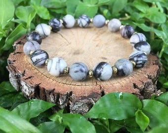 Dorothy Bracelet- Map Jasper(8mm)  -Oliver Grey Jewelry - Stacking Bracelets - Gemstone Bracelet - Earthy Jewelry - Grey Beaded Bracelet