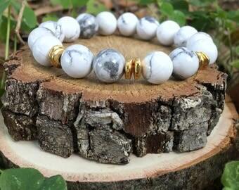 Priscilla Bracelet- White(10mm) & Gold Nugget Bracelet- White and gokd bracelet- White marble- boho beaded bracelet - OliverGreyJewelry