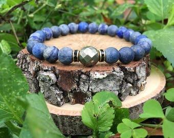 Men's Jeremy Bracelet- Natural Blue Lapis(8mm) - Pyrite - beaded bracelet-oliver grey jewelry- Denver collection-  guys accessories