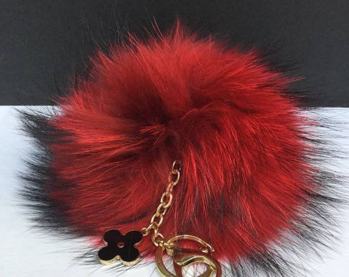 Red Raccoon Fur Pom Pom luxury bag pendant + black flower clover charm keychain