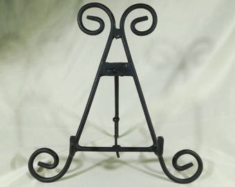 ONE (1) Large Easel BLack Metal Display Stand Great for Plates Fossils and More !!