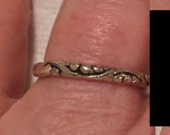 Carved Silver Vintage Silver Band