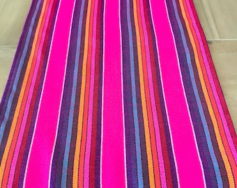 Mexican Table Runner, Tablecloth Or Napkins. Striped Hot Pink Fabric, Woven  Details,