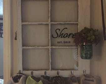 antique window, hat hooks, shelf, rustic, personalized
