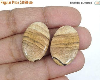90% SALE Picture Jasper Pair 21.5Ct. (22x15x3 mm) Natural Gemstone Oval shape Feelings of Love, Hope NS-12960