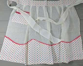 Vintage White Dotted Swiss and Polka Dot Cotton Starched Pleated Handmade Half Apron