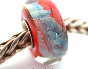 SRA artist handmade euro big hole lampwork glass bead with sterling silver core - Made To Order - S937