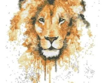 "lion Counted Cross Stitch watercolor Pattern chart point de croix needlepoint needlework -9.07"" x 12.36"" - L1502"