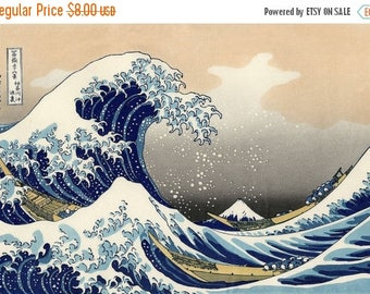 "Counted Cross Stitch Pattern PDF  needlepoint, needlework- The Great Wave off Kanagawa by  Hokusai - 27.57"" x 19.00"" - L1109"
