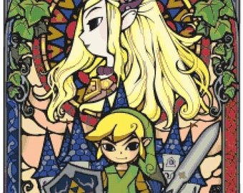 """nintendo zelda stained glass Counted Cross Stitch Pattern pdf chart instant download needlepoint - 15.71"""" x 23.50"""" - L1056"""