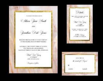 Wedding Invitation Set, Marble Wedding Invitations, Wedding Invitation Suite, Printable Wedding Invites, Pink Marble Wedding Invitations