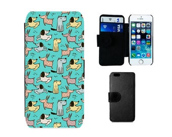 Wallet phone case Samsung Galaxy S8 S7 S6 Edge Plus S4 S5 Mini Note 5, iPhone flip SE X 8 7 6 6S Plus 5S 5C 5 4S dogs dog cover gift . F373