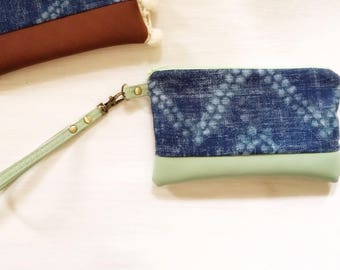Mint Green Denim clutch
