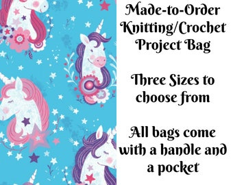 Unicorn Kisses in Aqua, Knitting Project Bag, Crochet Bag, Cross Stitch, Zippered Bag, Knitting Organizer