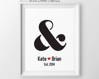 Newlywed Gift For Couple Ampersand Engagement Present Newlywed Present Anniversary Present Wedding Gift Anniversary Engagement Party Gift
