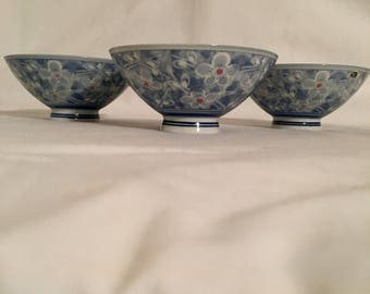 Floral Rice Bowls Made in Japan Blue and White Footed Floral Rice Bowls Set of 3