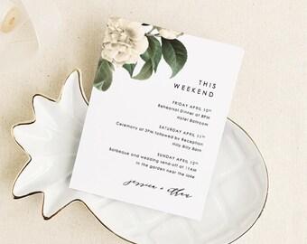 Druckbare Hochzeit Reiseroute Willkommen Kartenvorlage
