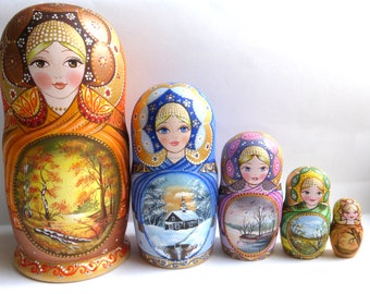 Russian dolls Matryoshka Nesting dolls Babushka The seasons hand made exclusive wooden dolls