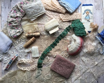Beautiful Assortment of Lace and Trim - Some Antique - 20 Different Items - Great for Dolls