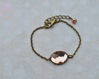 Bracelet minimalist nude and bronze faceted glass cabochon