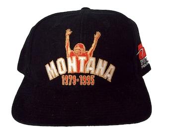 Vintage San Francisco 49ers Joe Montana Snapback Hat by Sports Specialties Rare NFL 90s Black